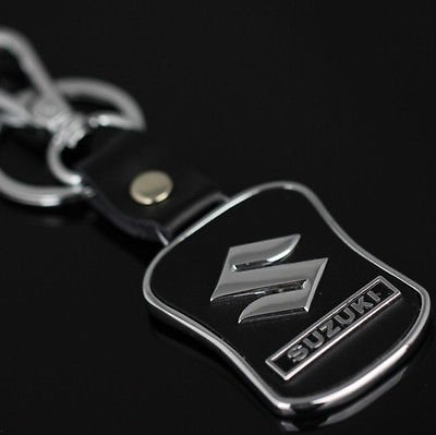 Suzuki Emblem Keychain Keyring Logo Fashion Leather Black Titanium Symbol Sign Badge Personalized Custom Quality Key Chain Metal Alloy Gift for Man Woman