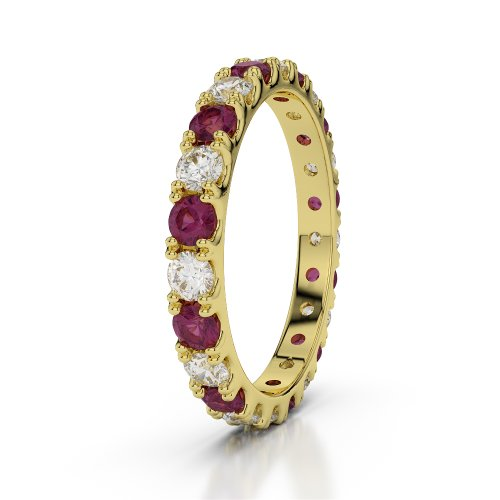 Or jaune 18carats 1CT G-H/VS sertie de diamants ronds Cut Rubis et éternité Bague Agdr-1121