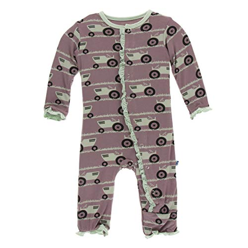 Kickee Pants Little Girls Print Layette Classic Ruffle Coverall with Snaps - Raisin Tractor and Grass, 6-9 Months ()