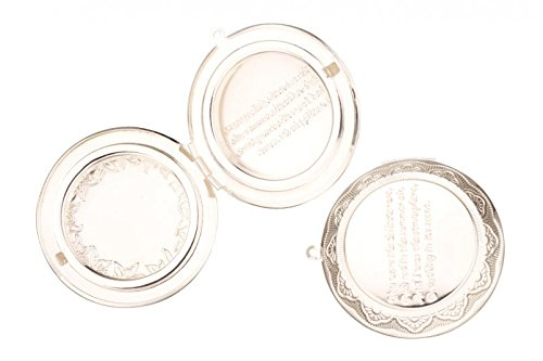 Round Silver Plated Three-Frame Locket With Memorial Phrase Beading Supplies (Locket Photo Three)
