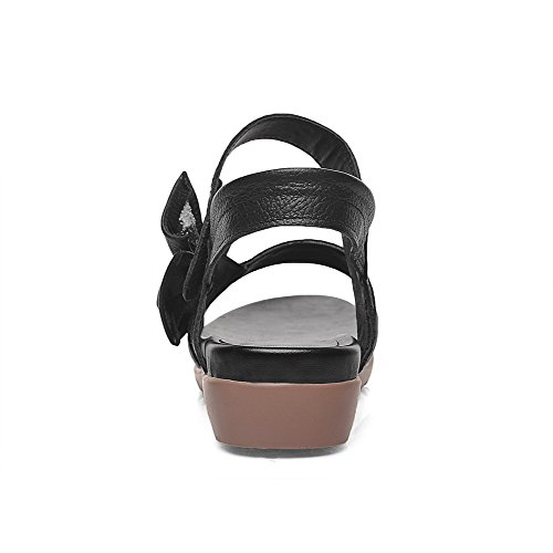 AllhqFashion Womens Blend Materials Open Toe Low Heels Pull On Solid Sandals Black sDDtzF
