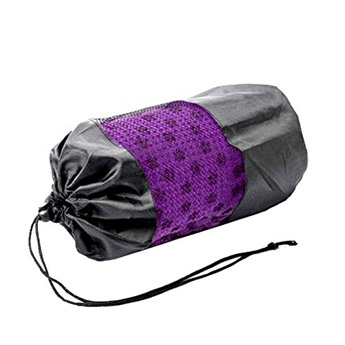 """Eco Friendly Microfiber Non Skid Absorb Sweat Yoga Towels Yoga Mat Size 72.04""""x24.80"""" Durable with Protable Carry Bag Lint-free Non-snagging Multi Colors (Purple)"""