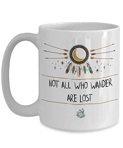 Wanderlust Coffee Mug boho coffee mug dream catcher mug arrow mugs free spirit mug boho gift cheap gifts dreamcatcher gifts cheap (White, 15oz)