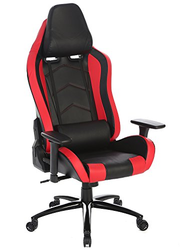 SEATZONE Brand New High-back Ergonomic Gaming Chair with Soft Headrest and Lumbar Support, Deluxe 360 Degrees Swivel Racing Chair for Office, Video Game Room, Leatherette, Red Review