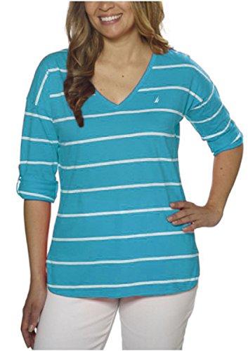 Tab 3/4 Sleeve (Nautica Ladies' V-Neck Roll-Tab Tee, Scuba Blue/White Stripes, X-Small)