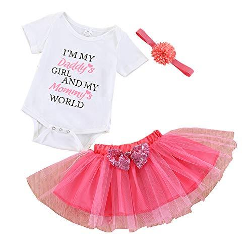 Baby Girls Summer Letter Romper Top + Tutu Lace Bowknot Skirt Dresses + Headband 3Pcs Outfit Sets (Multi, 70/0-3M) -