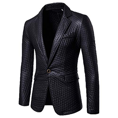 Jacket Blazer Sport Coat Slim Single Breasted Slim Dress Casual Suit Sport Jacket Stylish Men's (M,12#Black)