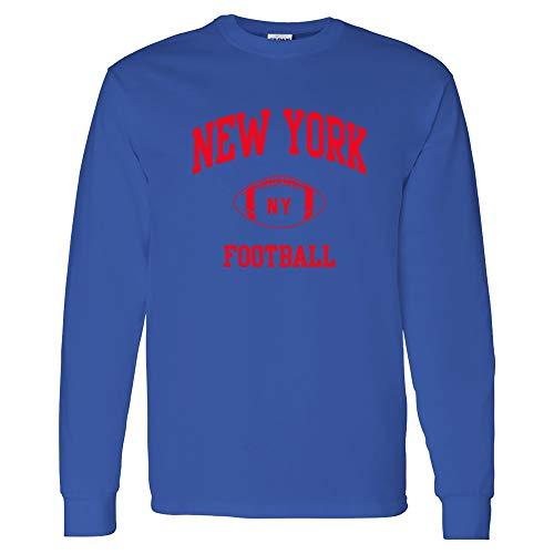 New York Classic Football Arch American Football Team Long Sleeve T Shirt - Large - Royal