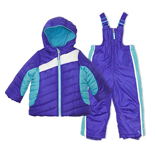 Arctic Quest Toddler Girls Color Block Fleece Lined Hood and Snow Bib Pants Set, Purple & Turquoise, 3T