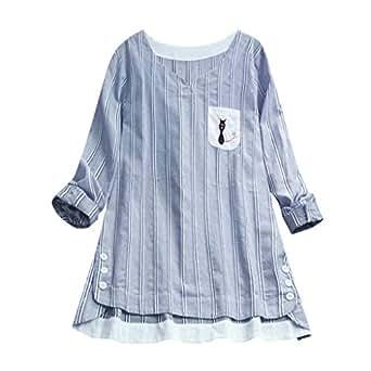 DEELIN Blusa para Mujer Moda Mujeres Señoras Rayas Gato ...