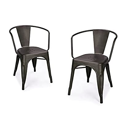 Joveco Dark Bronze Curve Back Style Metal Stackable Dining Chair, Set of 2 -  - kitchen-dining-room-furniture, kitchen-dining-room, kitchen-dining-room-chairs - 41W94d%2B1vVL. SS400  -