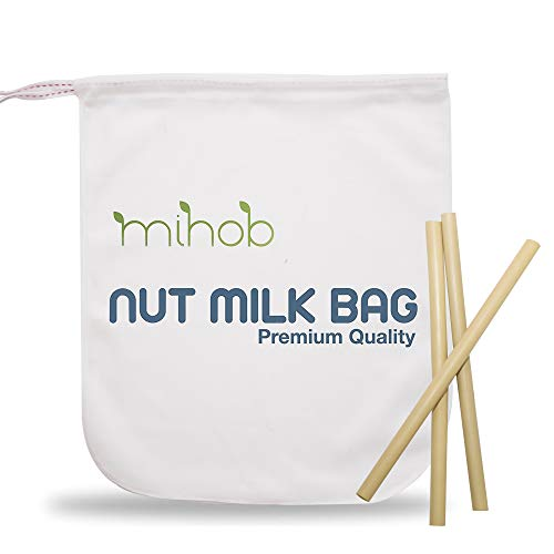 Premium Cotton Nut Milk Bag and Organic Bamboo Straws - All Purpose Reusable Strainer for Almond Milk, Soy Milk, Brew Coffee & Tea, Cheese Making, Oat Milk, Juicing, Yogurt & More.