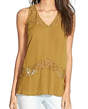 Chloe K Women's Small Blouse Lace Solid V-Neck Top Green S
