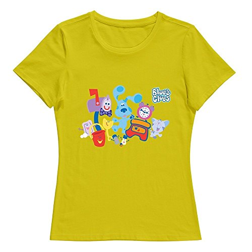 StaBe Women Blues Clues Dog T-Shirt Unique Cool Yellow S ()