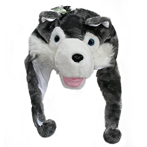 [Plush Animal Hats for Kids - 'Assorted Hat-imals' Animal Hats - Critter Cap Cold Weather Winter Hat (Grey] (Wolf Head Hat)