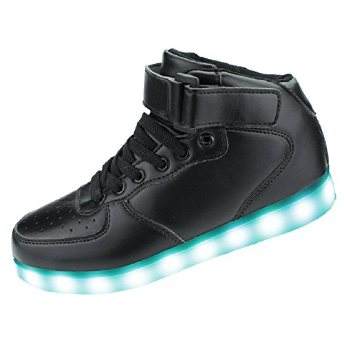 SENFI Upgraded Kids Light Up Shoes High Top Flashing Sneakers (Toddler/Little Kid/Big Kid),LK17,Black,37 (Cool High Tops Shoes)