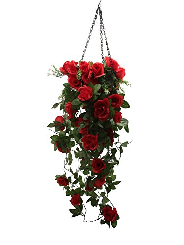 (Ivalue Artificial Rose Garland Red Wall Hangings 2pcs Fake Rose Vine Flowers Green Leaves for Home Wedding Decoration)