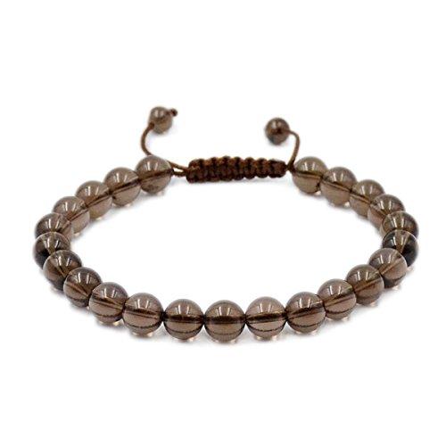AD Beads Natural 8mm Gemstone Bracelets Healing Power Crystal Macrame Adjustable 7-9 Inch (Smoky Quartz) (Crystal Smoky Quartz Earrings)