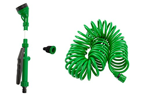(SpigotKing Coiled Garden Hose,5 Pattern Spray Nozzle Plus Quick Connect BONUS- Flexible Water Hose, Retractable - Expanding, No Kink Hose, Best For Yard, RV, Gardening Gifts – Shrinking, 50ft Hose Kit)
