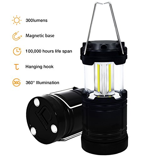 Camping Lantern Portable Outdoor COB LED Light with Magnetic Base and Hanging Hook, Survival Kit for Emergency, Hurricane, Storm, Outage, Halloween Pumpkin Light (Black)