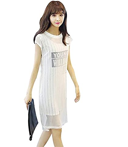 Ivan Johns Women's Summer Long Chiffon Dress FaTwo-piece Straight Loose Letter Dress ( XL , White) - 9 Glasgow Long Body
