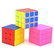 Heddi Magic Speed Cube Puzzle Transparent Stickerless Mirror Cubes - Pink 3*3*3 Brain Teaser Puzzle Cube Bundle Box Pack