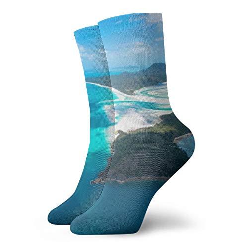 WEEDKEYCAT Blue Sea Island Mountain Adult Short Socks Cotton Cute Socks for Mens Womens Yoga Hiking Cycling Running Soccer Sports