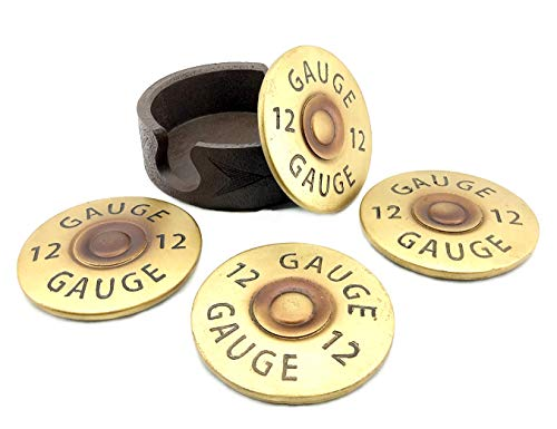 CLOSEOUT SALE Bellaa 23301 Costers 12 Gauge Shotgun Shell Set Of Four W/Base Big Size