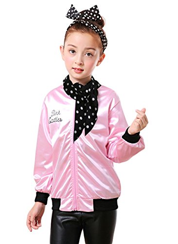 TDmall Girls 50s T-Bird Danny Pink Ladies Jacket Costume With Scarf -