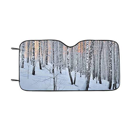 InterestPrint Winter Sunset Birchwood Sunlight Birch Trees Windshield Sun Shades Block UV, Protect Your Car from Sun Heat