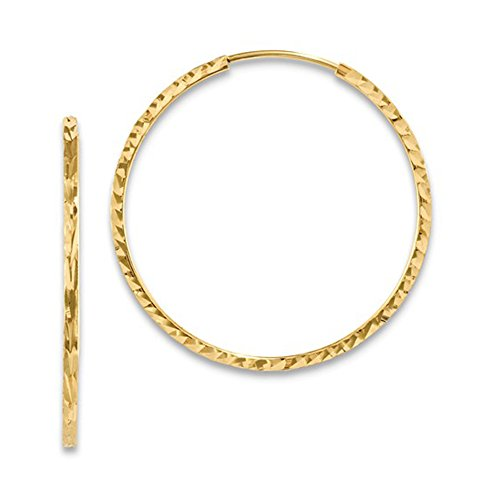 Medium 14K Yellow Gold Diamond Cut Square Tube Continuous Endless Hoop Earrings, 15-60mm (1.35mm Tube) (30mm)