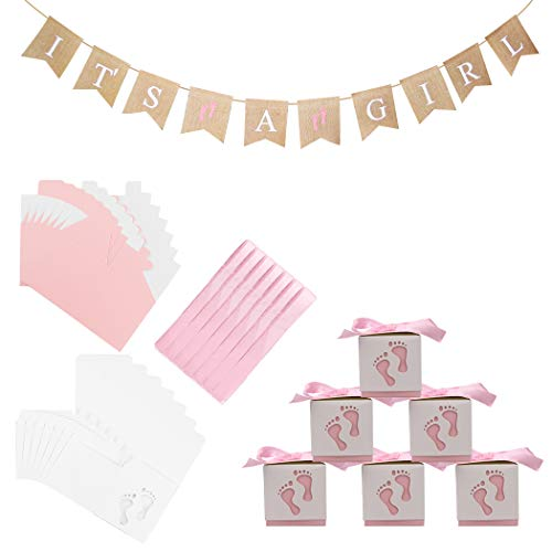 Faylapa 50 PCS Cute Baby Footprint Design Candy Boxes + It's A Girl Banner Baby Shower Favors for Kids Birthday Baby Shower Party Supplies (Pink)