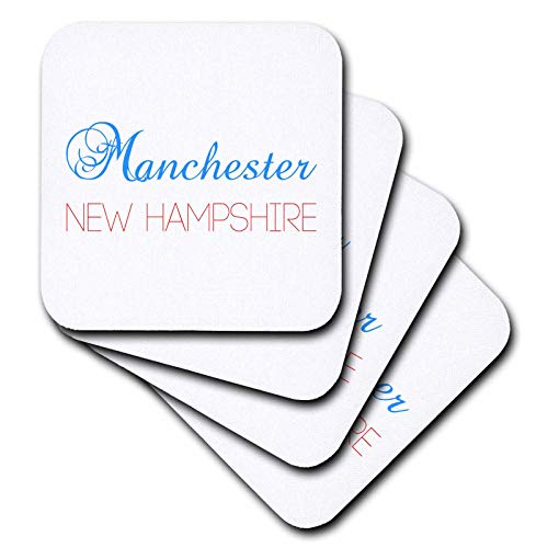 3dRose Alexis Design - American Cities Nevada-New-York - Manchester, New Hampshire blue, red text. Patriot USA home town gift - set of 4 Coasters - Soft (cst_300565_1)
