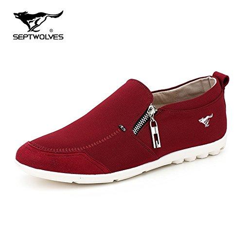 Aemember Scarpe Uomo Pigro ossa scarpe calci di peddling panno popolari Scarpe Scarpe Casual Set Gioventù piedi scarpe di tela ,44, Rosso