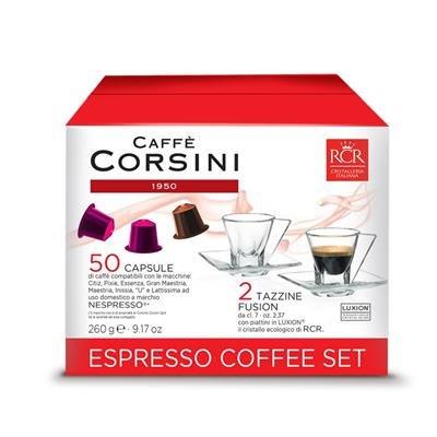 Corsini Caffè - ESPRESSO COFFEE SET - 50 Nespresso Compatible capsules Corsini and 2 cups and saucers RCR ()