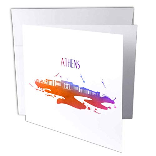 3dRose Sven Herkenrath City - Watercolor Skyline of Athen Greece Travel Tourism - 1 Greeting Card with Envelope (gc_311015_5)