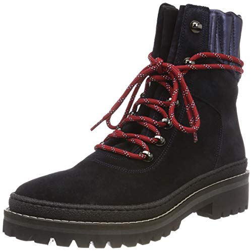Hiking Hilfiger Suede 403 midnight Blue Modern Tommy Women''s Boot Combat ptwxwqT7O