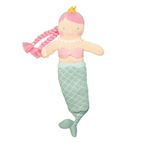 (Zubels Baby Girls' Marina The Mermaid Hand-Knit Plush Toy Doll, All-Natural Fibers, Eco-Friendly, 12-Inch)