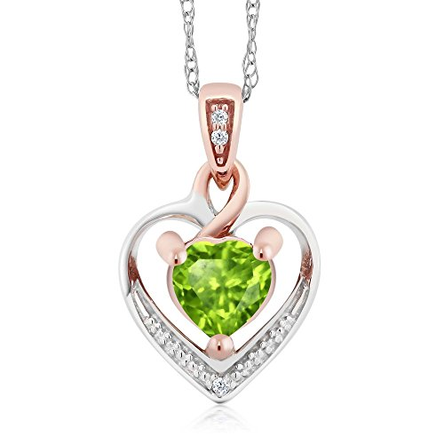 Gem Stone King 10K White and Rose Gold 5mm Peridot and Diamond Heart Shape Pendant Necklace (0.50 cttw, With 18 inch Chain) (10k Peridot Necklace)
