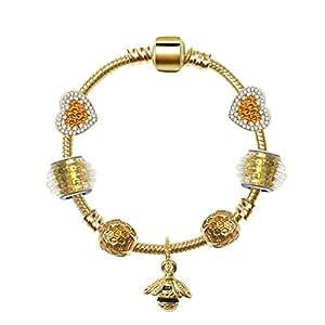 Bee Pendant Bracelet Large Hole Beaded Gold Plated Bracelet 18cm