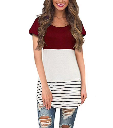 ack Lace Tops Color Block Short Sleeve T-shirt Tunics Blouse (X-Large, Wine Red) (Tunic Graphic T-shirt)