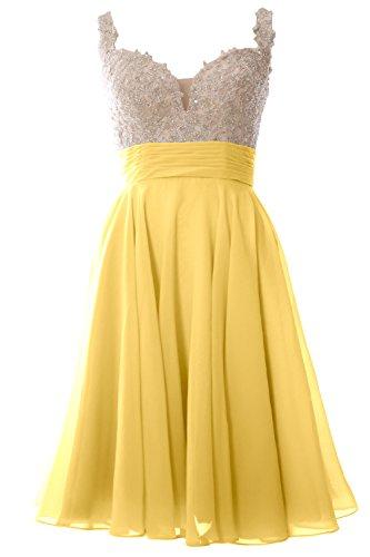 MACloth Women Straps Short Prom Dress Lace Chiffon Wedding Party ...