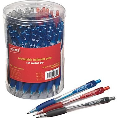 Staples Retractable Ballpoint Pens, Medium Point, Assorted, 50/Pack