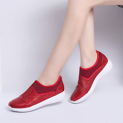 Flat Fabric Casual FALAIDUO Women's Shoes Boat Slipon Diamond Red Shoes Shallow Sequined Stretch Stitching ww8IYq