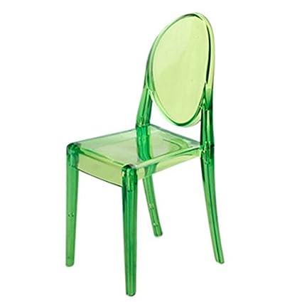 Beau TOOGOO(R) 1:6 Dollhouse Furniture Modern Style Ghost Chair Green