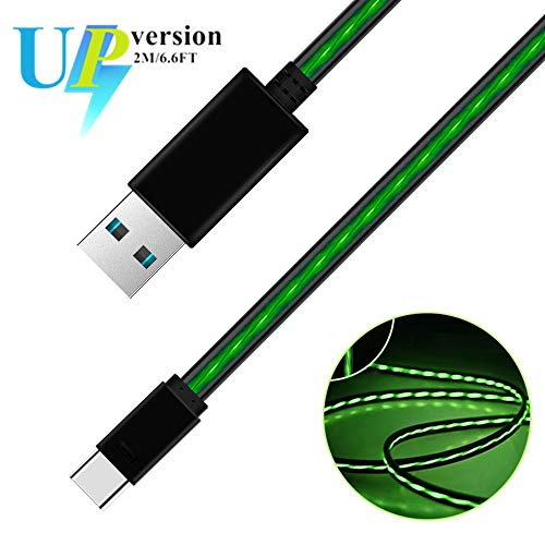 USB Type C Cable, iCrius 6ft Visible Flowing LED Light Type C Cable Fast Charging USB to C Charger Cord for Samsung Galaxy S9 S8 Plus Note 9 8/ LG V30 V20 G6 G5/ Huawei/HTC More Android Phone (Green)
