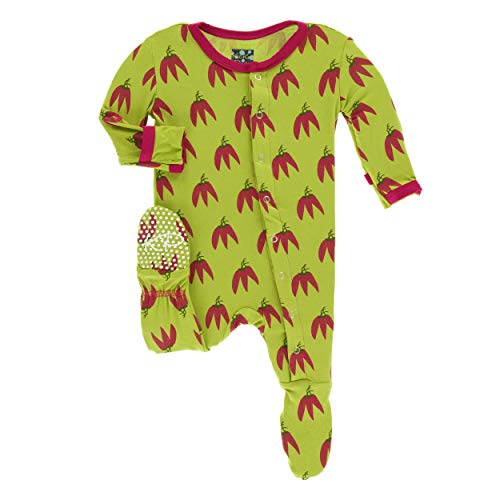 Kickee Pants Little Boys Print Footie with Snaps - Meadow Chili Peppers, 12-18 Months