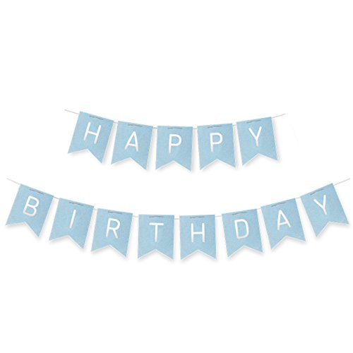 Juvale Birthday Party Banner - Happy Birthday Letter Bunting Flags, Pennant Banner Flags, Birthday Party Garland Decorations, Birthday Celebration Party Supplies, Blue, 15.5 Feet