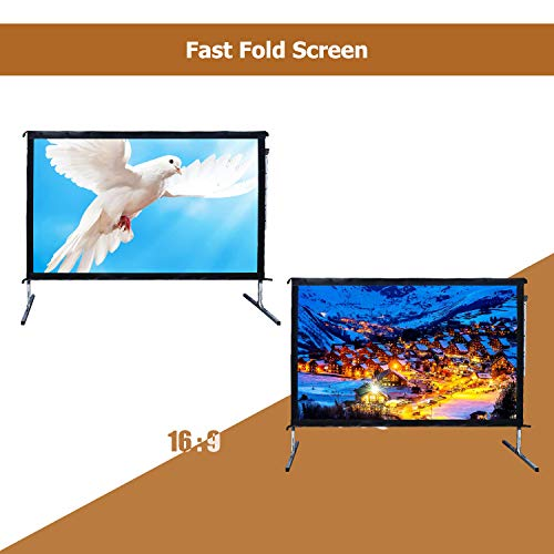 Outdoor Indoor Projector Screen with Stand, 144 inch HD Foldable Portable Projector Screen, 8K 4K 3D 16:9 Projection Movie Screen for Home Theater Camping Recreational Events, Waterproof, Anti-Crease by Stamo (Image #3)