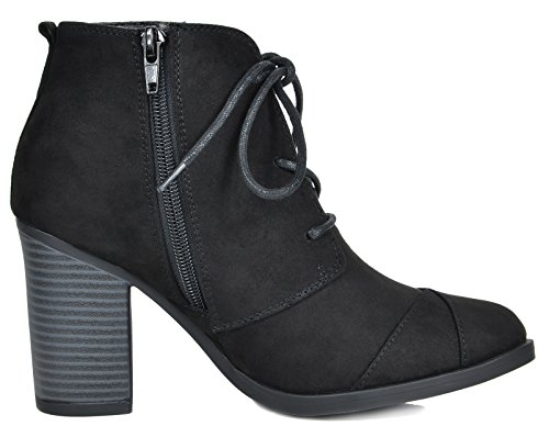 Chicago Heel Suede 5 Women's Chunky Black TOETOS Ankle Booties Hg5Acx